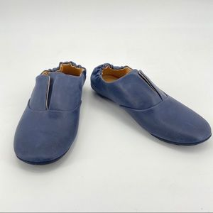 Chocolat Blu Blue Leather Scrunch Heel Mario Flat